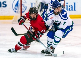 Two hockey players turning