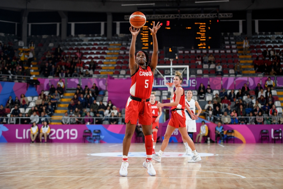 Shaina Pellington shoots a free throw against Paraguay at the 2019 Pan Am Games