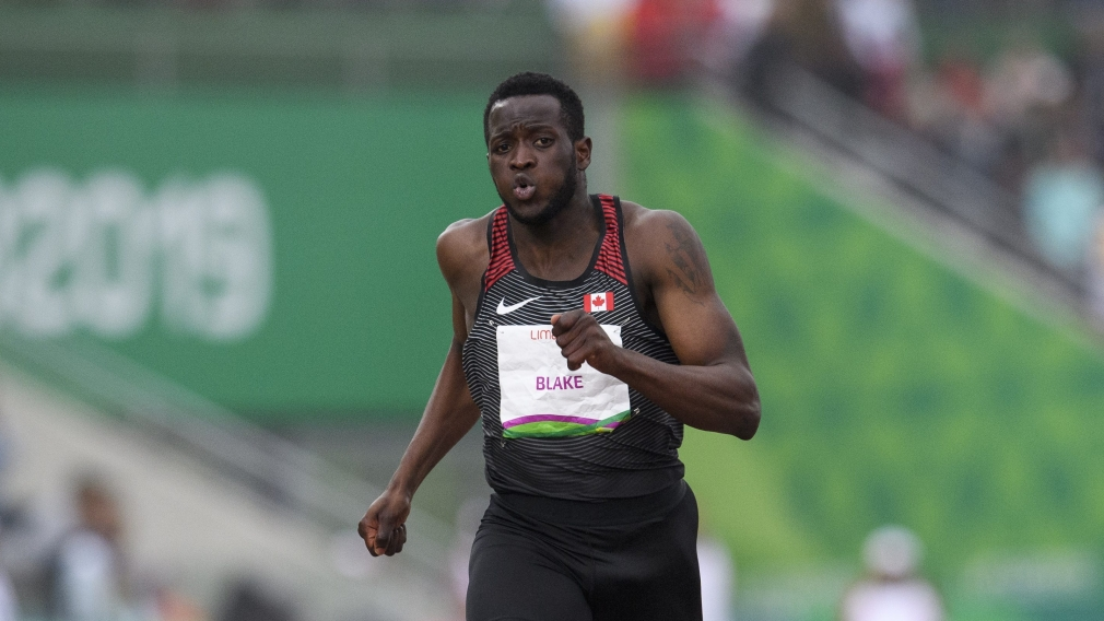 Jerome Blake of Canada competes in the men's 200m final at the Lima 2019 Pan American Games.