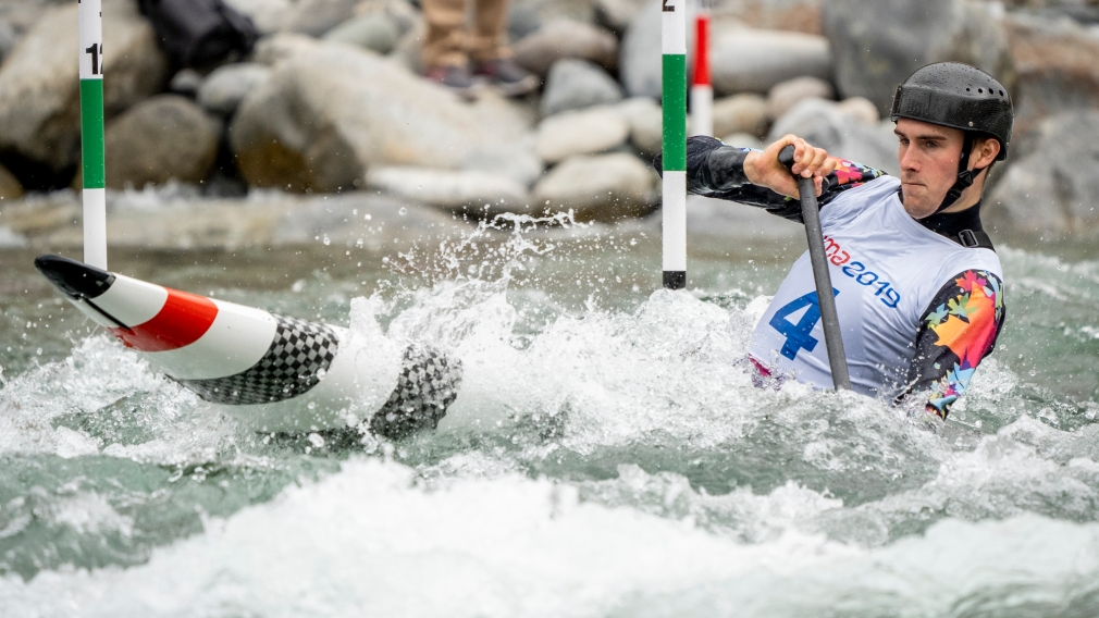 Liam Smedley of Canada competes in men's canoe slalom at the Lima 2019 Pan American Games.