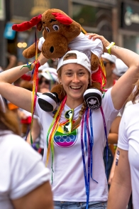 Rosie Cossar poses for photo with stuffed animal on her shoulders