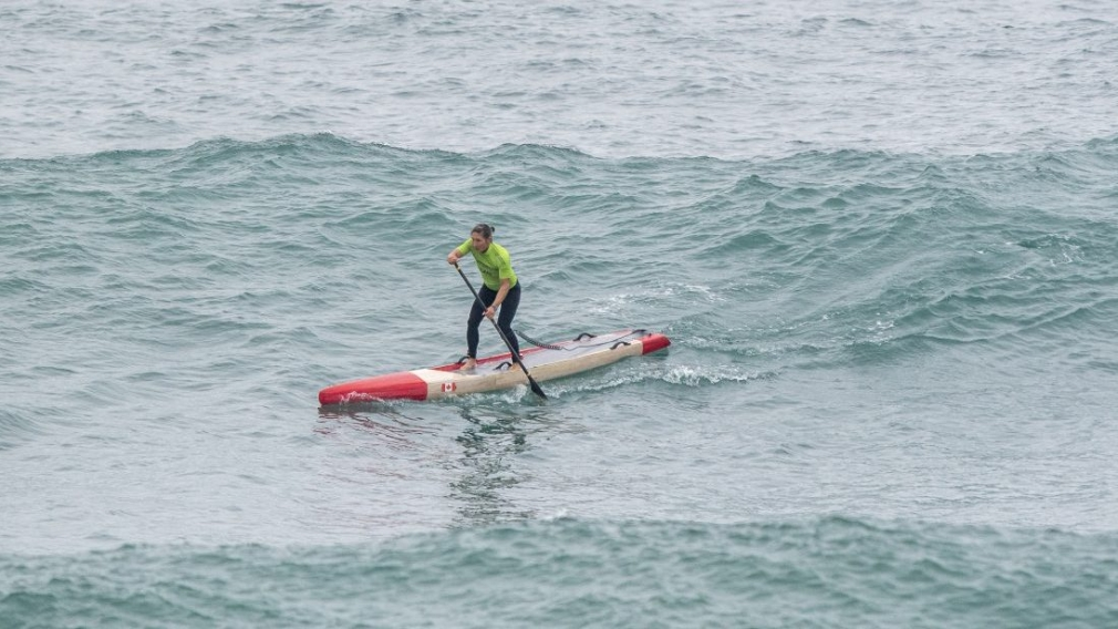 Lina Augaitis competing in SUP race