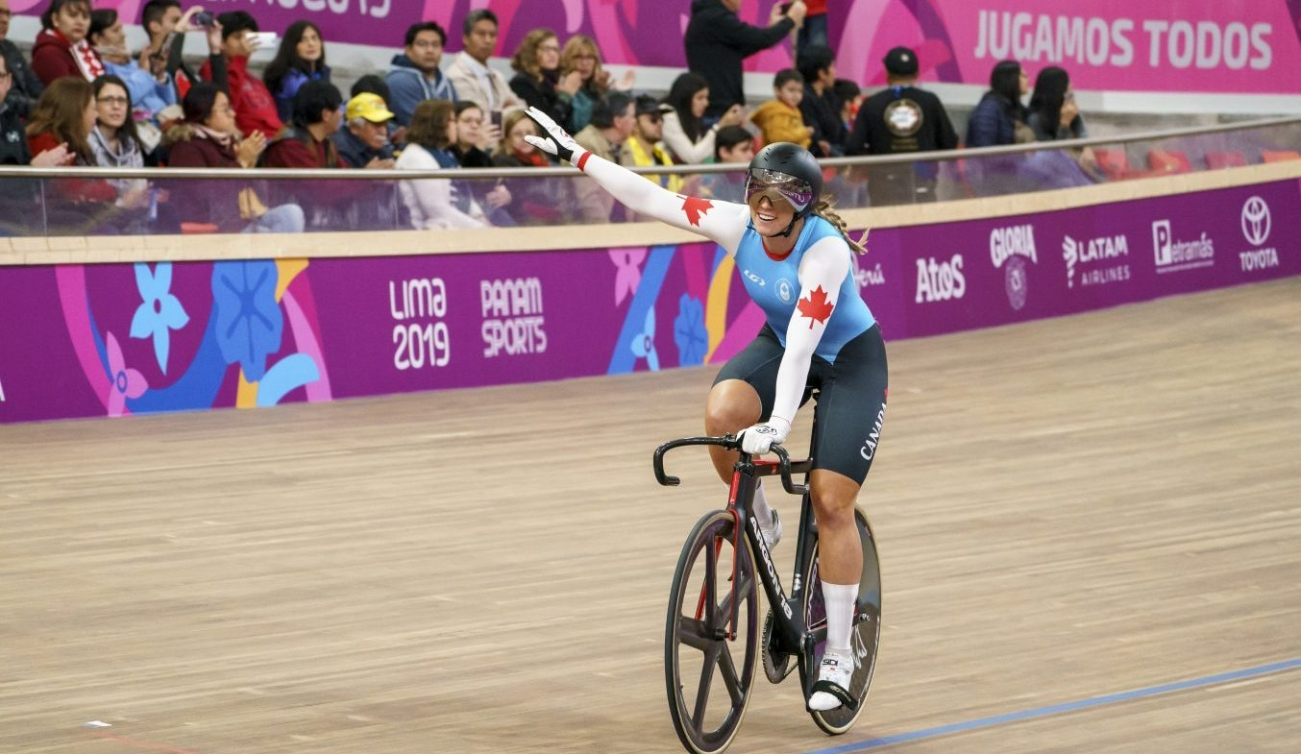 Kelsey Mitchell competes in the women's sprint