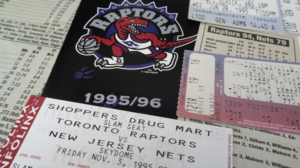 A Toronto Raptors ticket from their first-ever NBA game