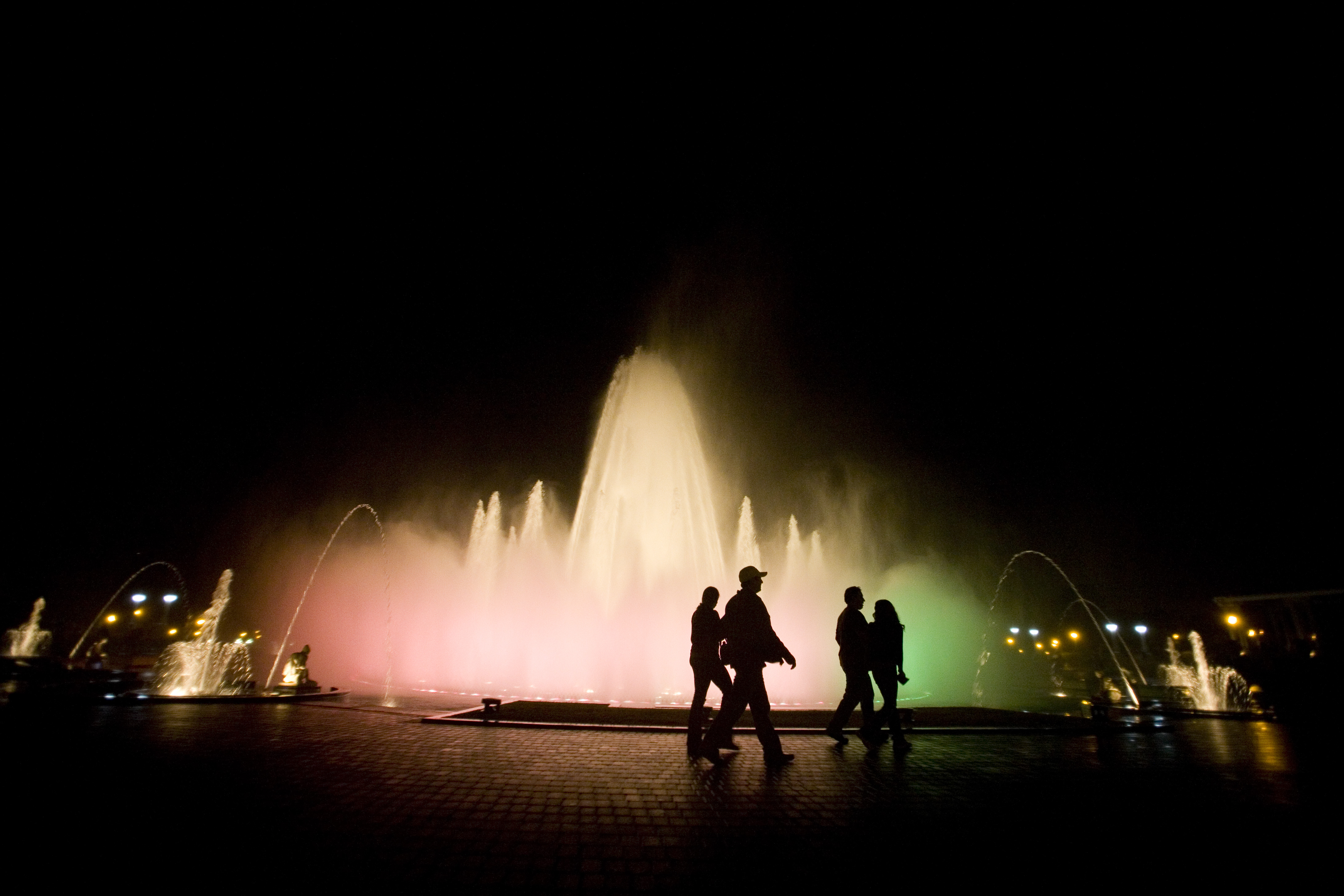 Water fountain with colours of light