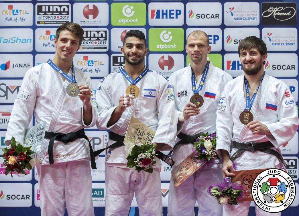 The men's -73 kg podium at the 2019 Zagreb Grand Prix.