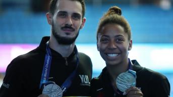 Jennifer Abel and Francois Imbeau-Dulac at the 2019 FINA World Championships.
