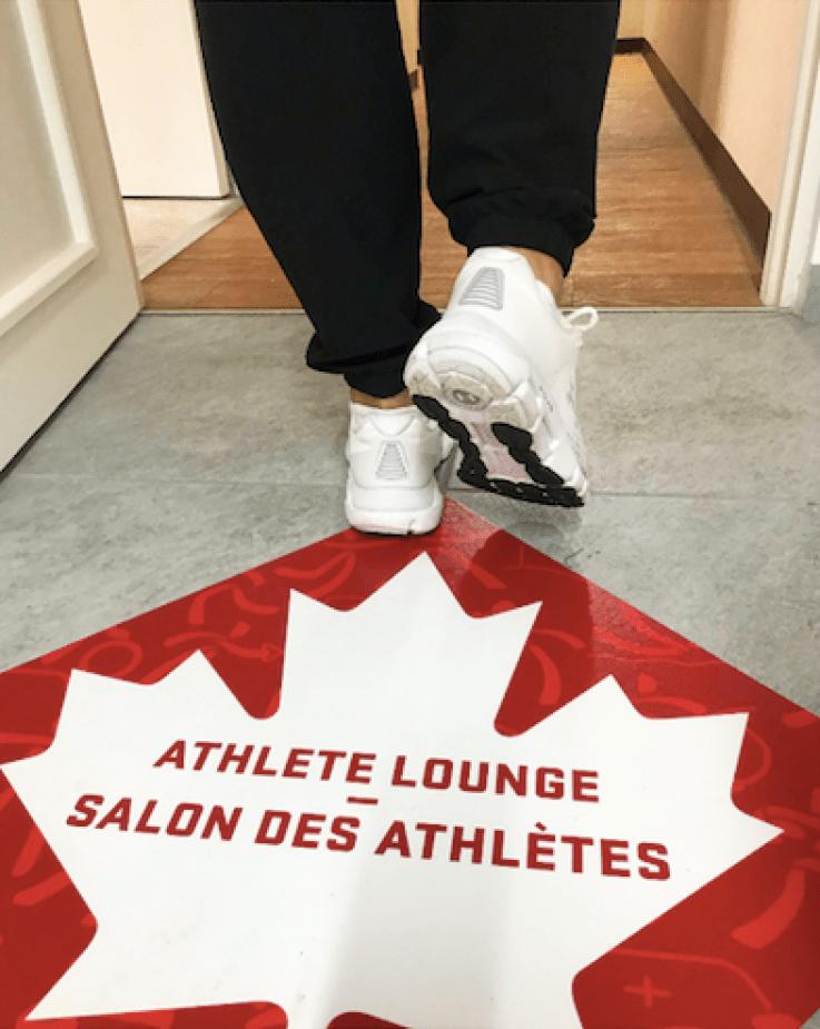 Floor print that says athlete lounge