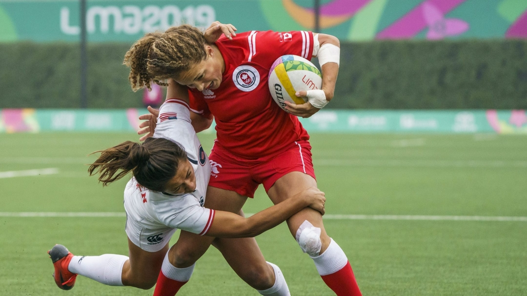 reanne Nicholas of Canada battles during a gold medal rugby game against the United States at the Lima 2019 Pan American Games