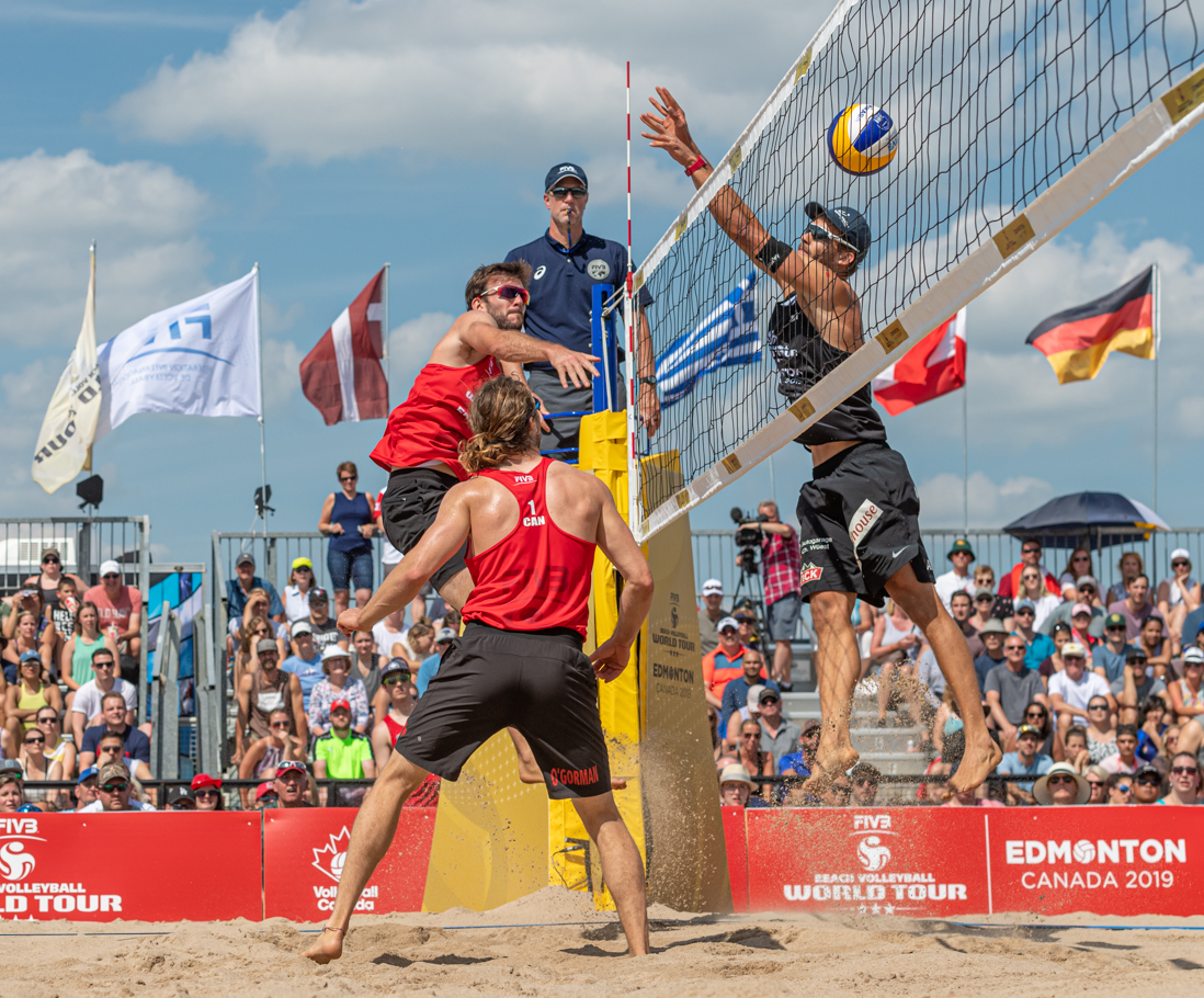 Canada's Grant O'Gorman and Ben Saxton took silver after falling 2-1 (15-21, 25-23, 8-15) to Nico Beeler and Marco Krattiger of Switzerland in the men's final.