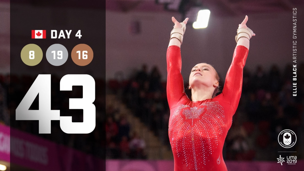 Lima day 4 graphic, Ellie Black competing in gymnastics