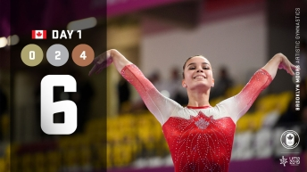 Lima day 1 graphic, Brooklyn Moors competing in artistic gymnastics