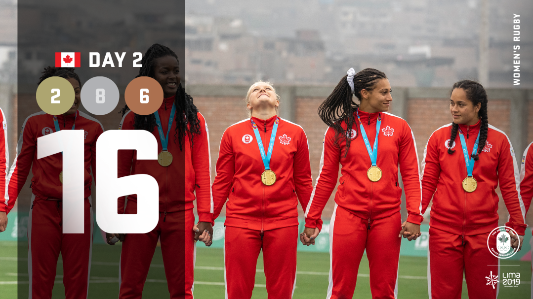 Lima day 2 graphic, women's rugby team holding hands