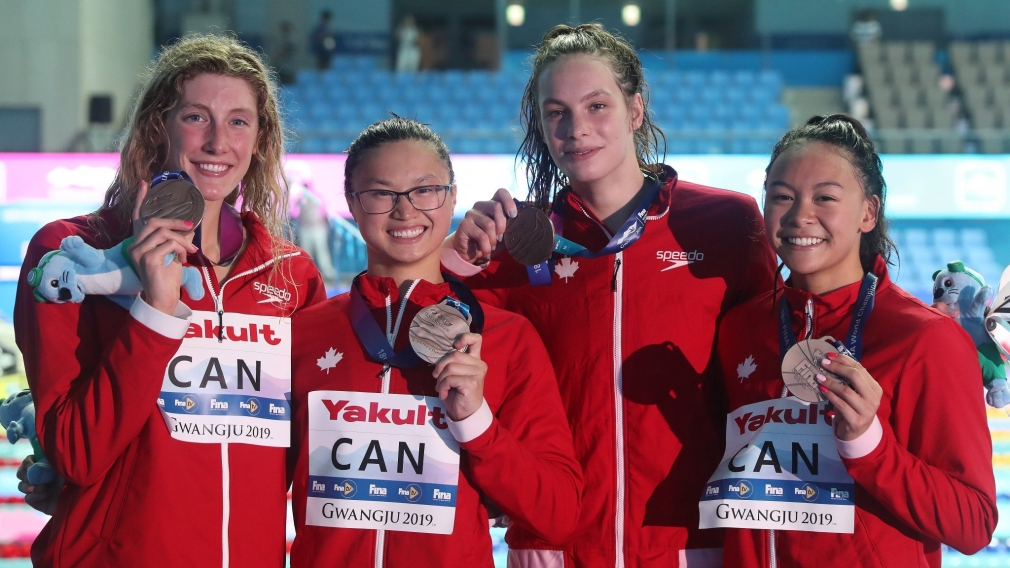 Team Canadaqualified for Tokyo 2020 in the women's 4x100m freestyle relay event after winning bronze on day one of the FINA World Championships in Gwangju, South Korea.Posting a time of 3:31.78, today's (July 21, 2019) bronze medal team included Kayla Sanchez, Taylor Ruck, Penny Oleksiak and Margaret MacNeil.