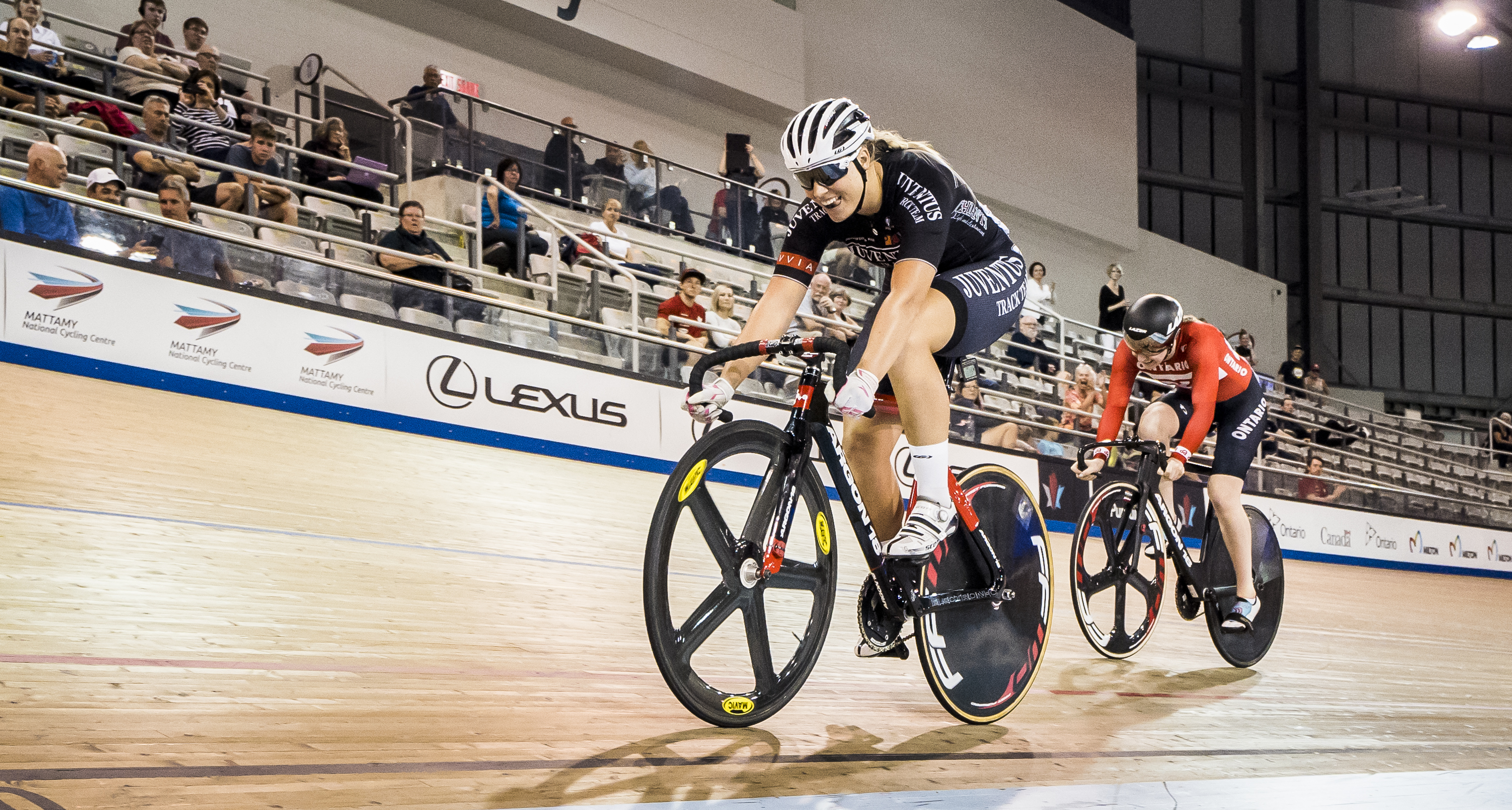 Kelsey Mitchell competes for the women's sprint title at the 2018 Canadian Track Championships