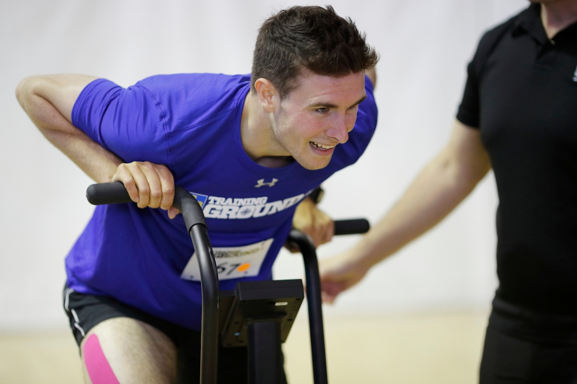 Liam Smedley tests his fitness during RBC Training Ground