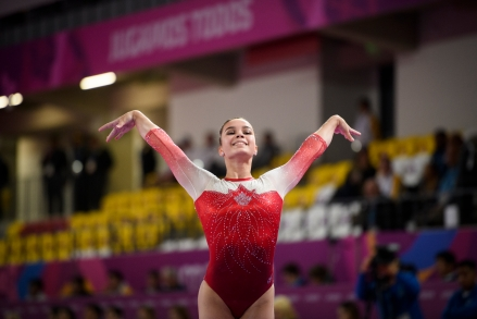 Brooklyn Moors of Canada competes in artistic gymnastic