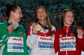 Women's 200m breaststroke medallists.