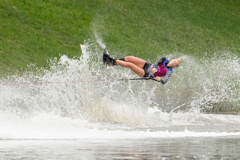 Waterskier jumps