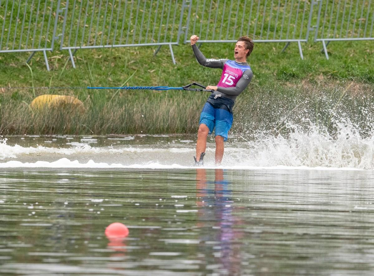 waterskier celebrates
