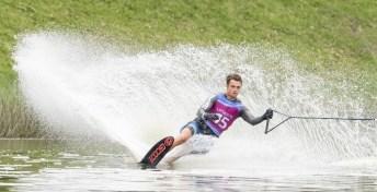 Dorien Llewellyn of Canada competes in the men's slalom waterski