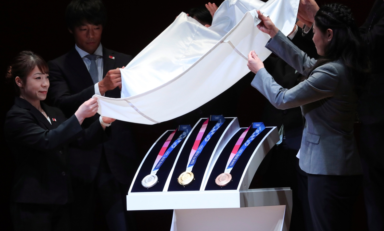 Tokyo 2020 Olympic medals are unveiled during the One Year to Go Olympic ceremony in Tokyo