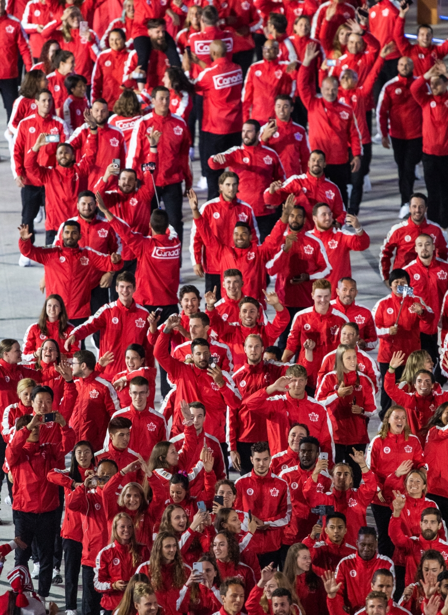Members of Team Canada enter the Estadio Nacional