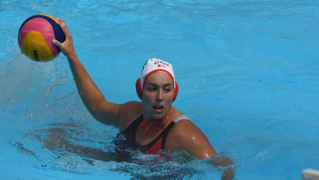 Water polo player ready to throw the ball