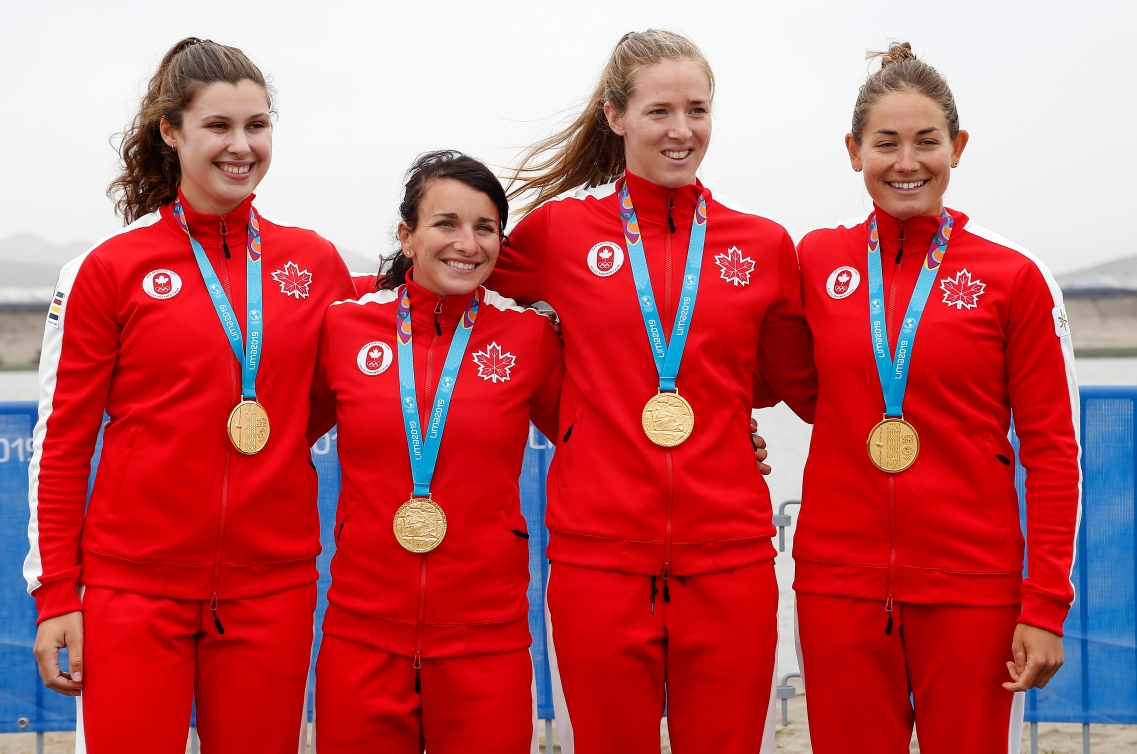 (L-R) Anna Negulic, Adréanne Langlois, Alexa Kaien Irvin e Allana Braylougheed from Canada, won the gold medal in the K4 500M at Lima 2019.
