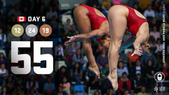 Lima Day 6 graphic, Jen Abel and Pamela Ware diving