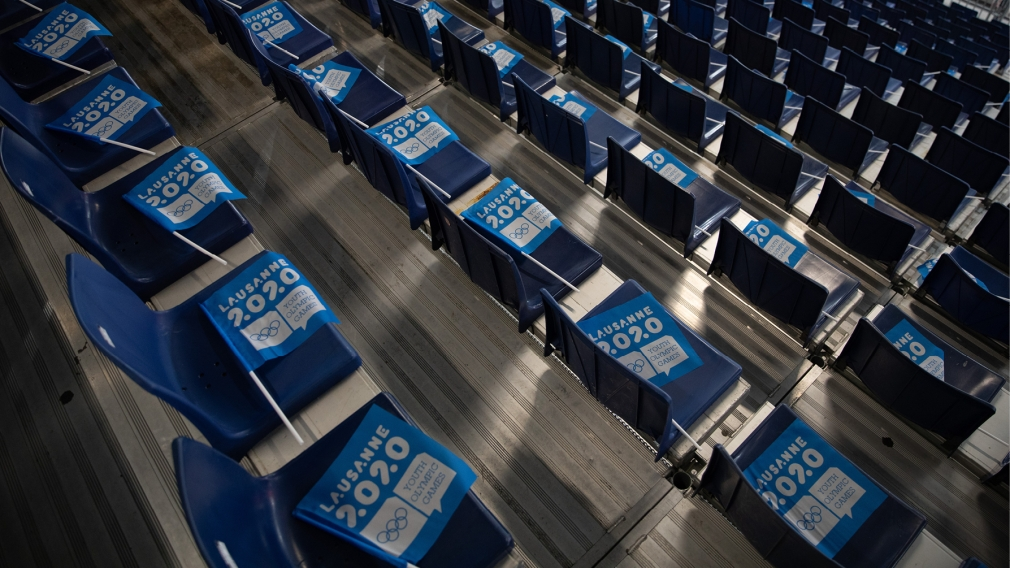 Stadium seats with Lausanne 2020 flags