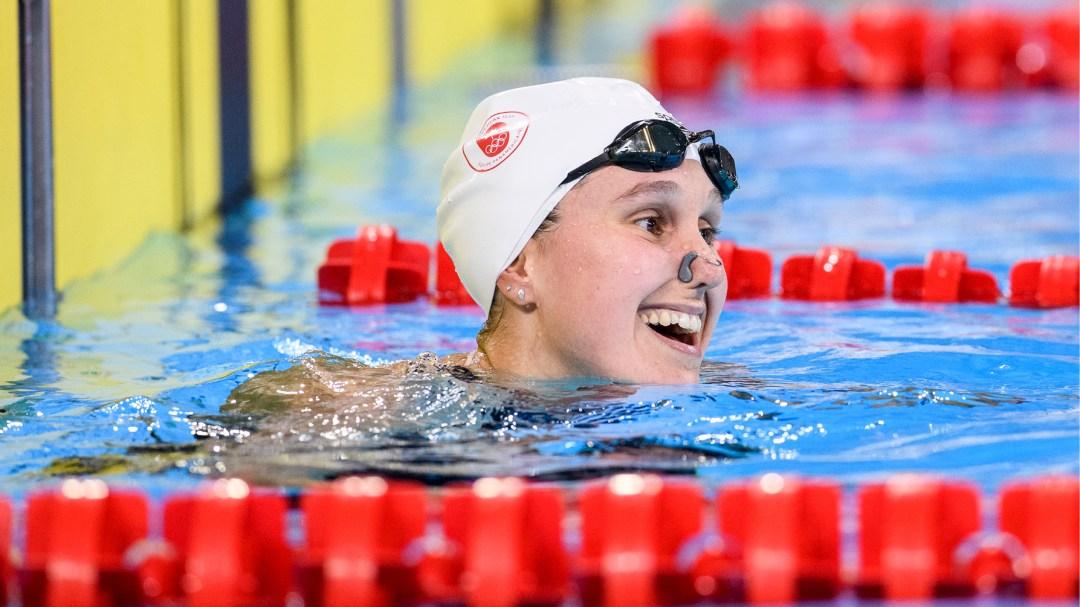 Swimmer smiling