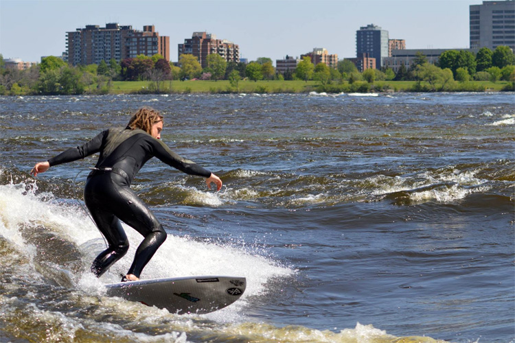 Surfer riding a wave with city landscape in the back