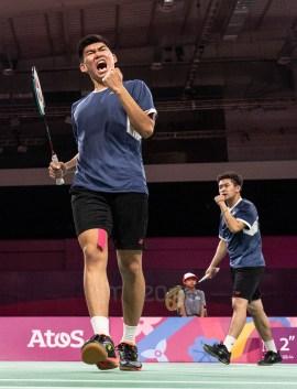 badminton player celebrates