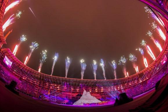 fireworks above a large stadium