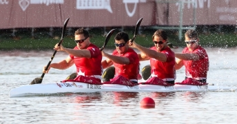 Canada's men's K-4 500m competes during the world championships.