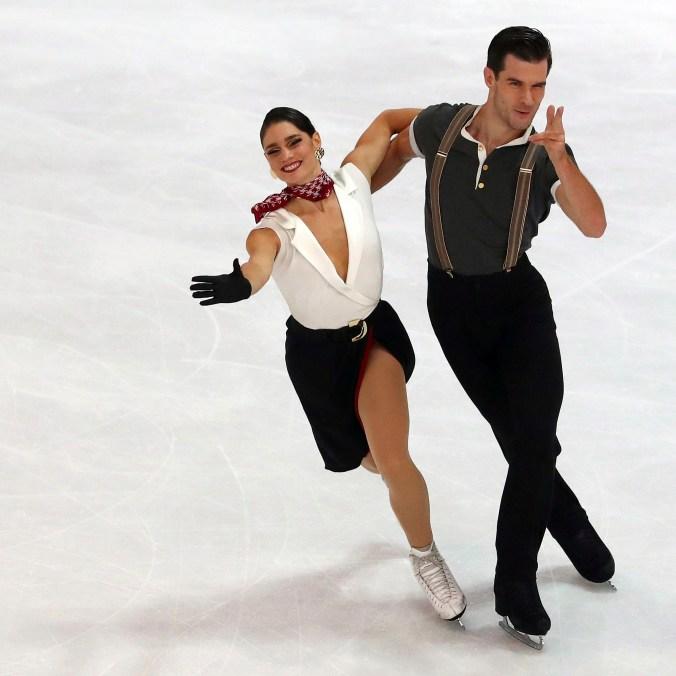 Larence Fournier Beaudry and Nikolaj Sorensen of Canada skating
