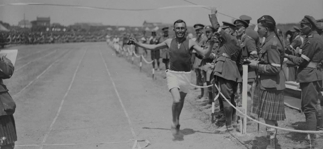 Benjamin Keeper running at the 1918 Dominian Day Canadian Corps Sports Day in France