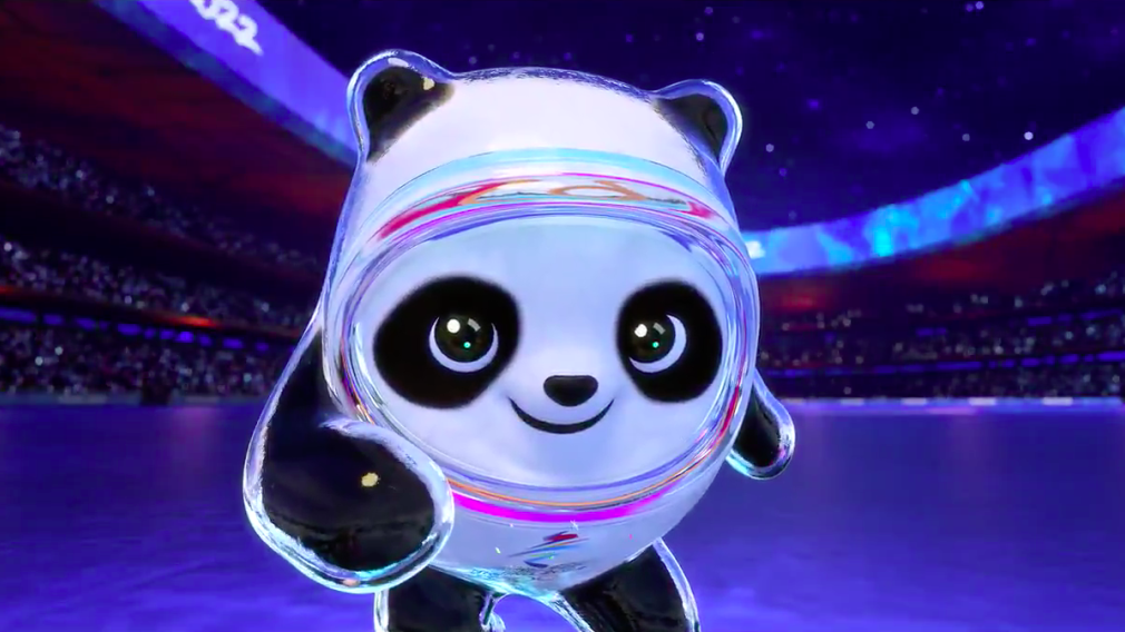 "Bing Dwen Dwen, the mascot for Beijing 2022, a panda in a shiny ""ice suit""."