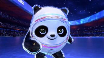 """Bing Dwen Dwen, the mascot for Beijing 2022, a panda in a shiny """"ice suit""""."""