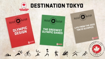 Image of three classroom resources that look like passports with pictograms and a stamp that says Destination Tokyo