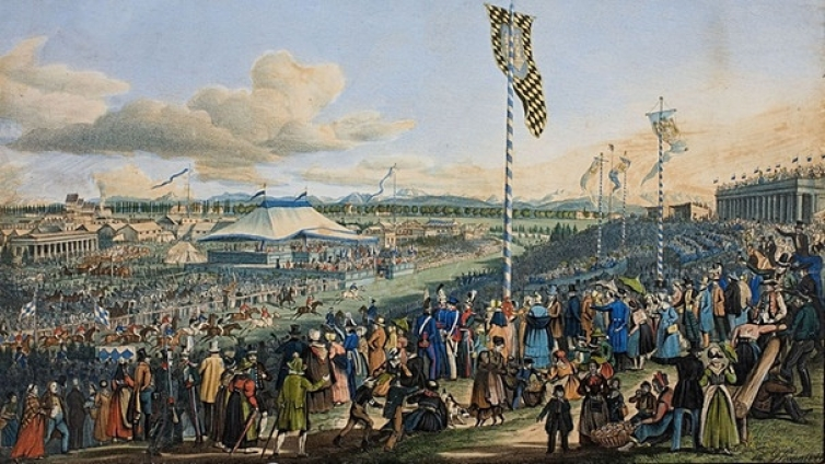Horse races at Oktoberfest in Munich in 1823