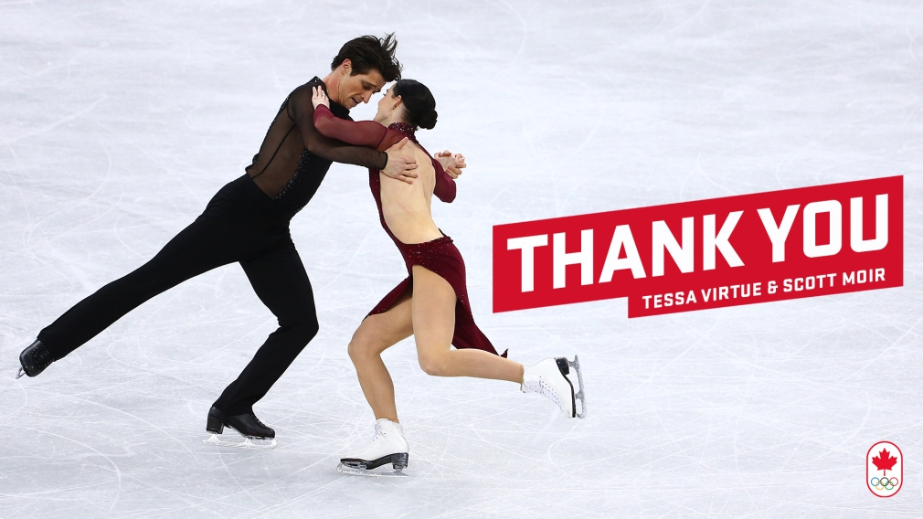 "A photo Scott and Tessa performing their dance, with the words ""Thank You Tessa Virtue and Scott Moir"" on the right"