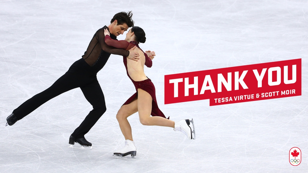 """A photo Scott and Tessa performing their dance, with the words """"Thank You Tessa Virtue and Scott Moir"""" on the right"""