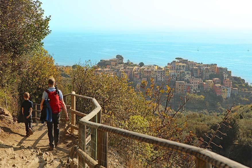 Hiker walking along Cinque Terre