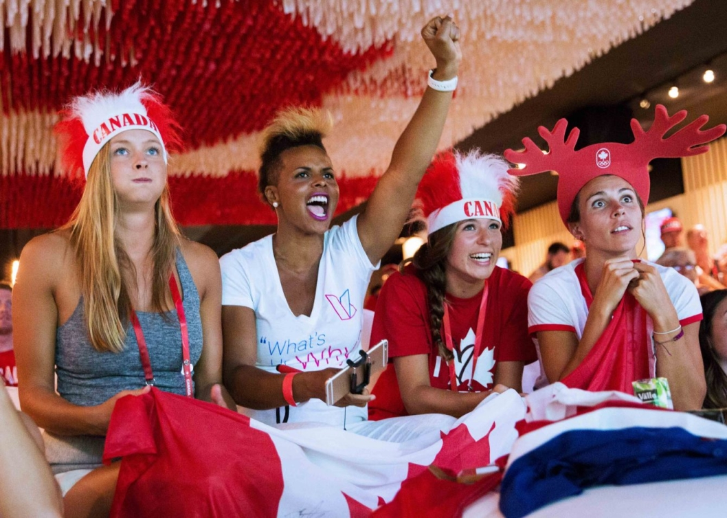 Guests are cheering on Team Canada at Rio 2016 Canada Olympic House