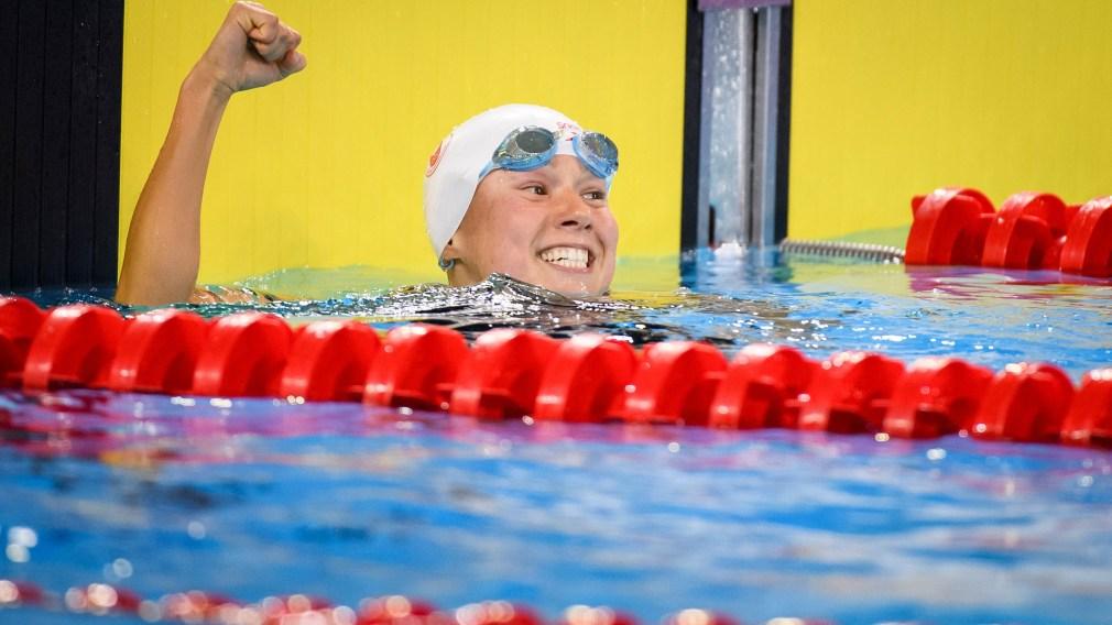 Swimmer celebrating