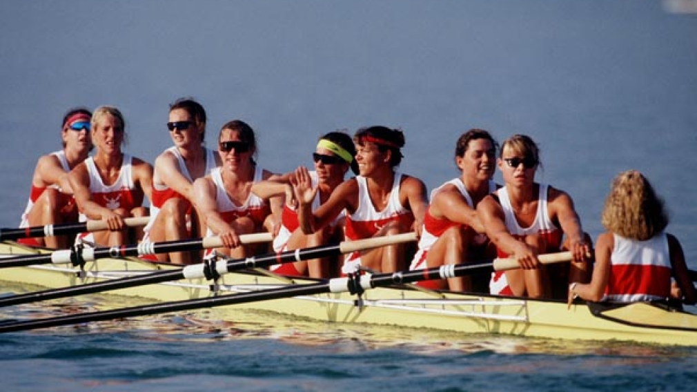 Megan Delehanty and her women's 8+ rowing team celebrate their gold medal win at Barcelona 1992
