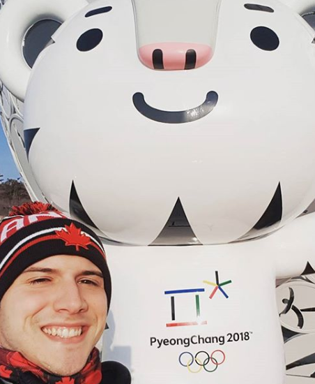 Adam poses with Soohoorang at PyeongChang 2018