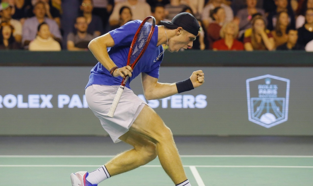 Canadian Denis Shapovalov reacts after making a point